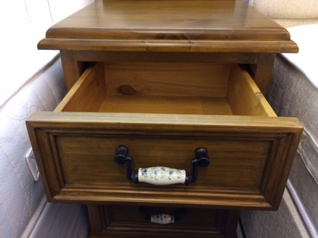 country pine three drawer bedside lamp table. Black Bedroom Furniture Sets. Home Design Ideas