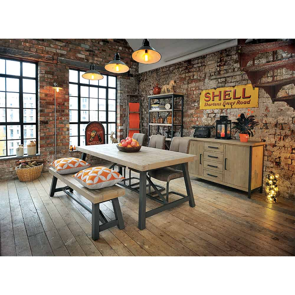 Rustic chic dining tables - Home Dining Room Dining Tables Lowry Industrial Rustic Chic