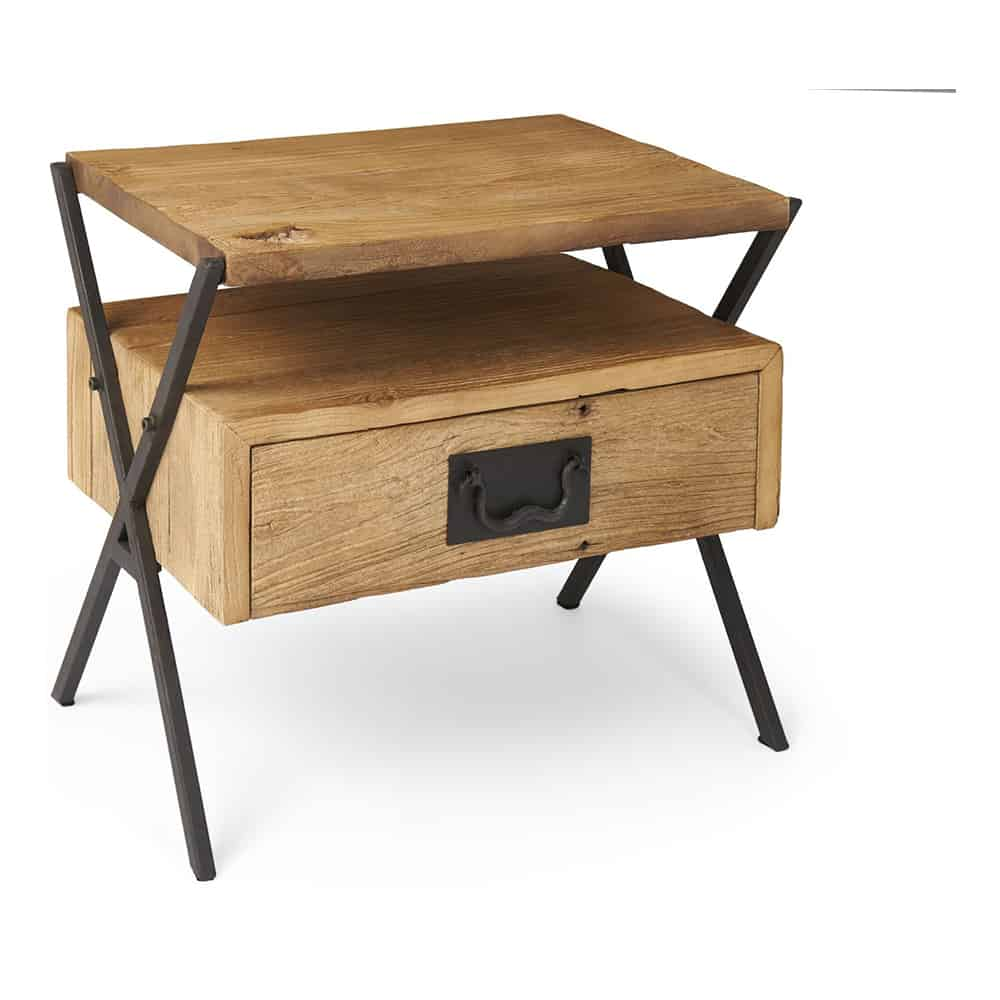 Boston Industrial Side Table With Drawer Www