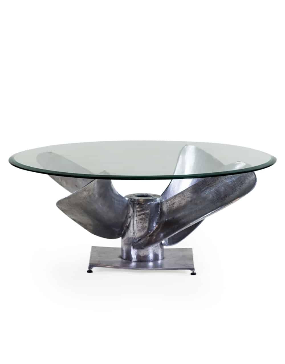 Large antiqued aluminium propeller glass coffee table Large glass coffee table
