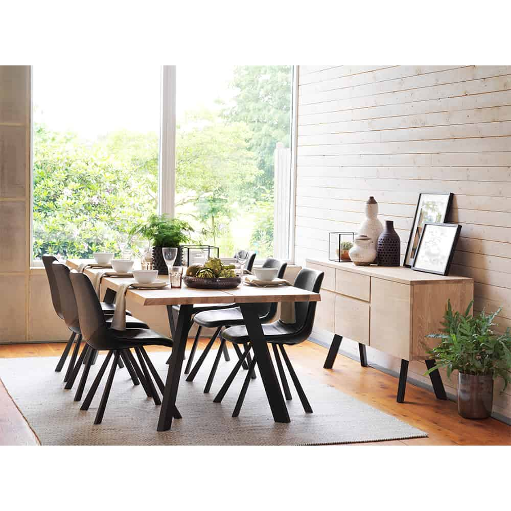 idaho reclaimed natural wood dining table and 6 chairs set. Black Bedroom Furniture Sets. Home Design Ideas